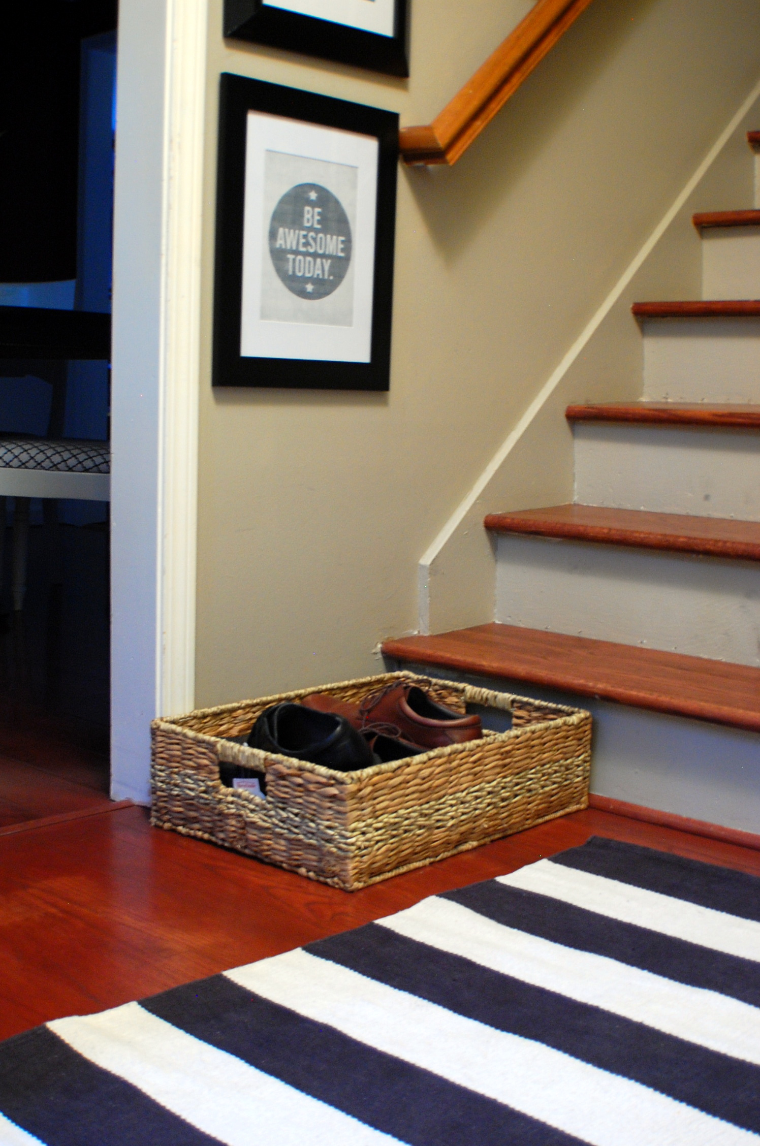 Since The Back Door Enters Into The Main Living Room, I Thought A Nicer,  Tall Basket Would Work Well By The French Doors To Hide Messy Piles Of Shoes .